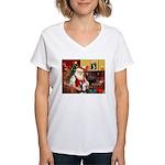 Santa's Sib Husky Women's V-Neck T-Shirt