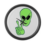 Peace Alien Large Wall Clock
