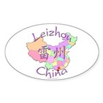 Leizhou China Map Oval Sticker (10 pk)
