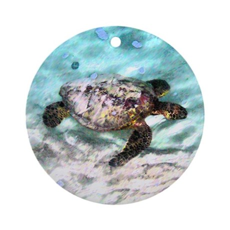 Swimming Sea Turtle Ornament (Round)