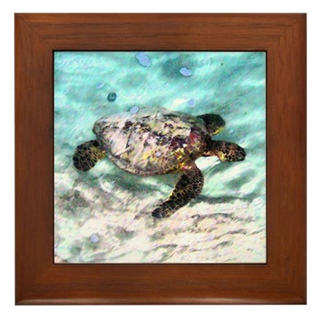 Swimming Sea Turtle Framed Tile