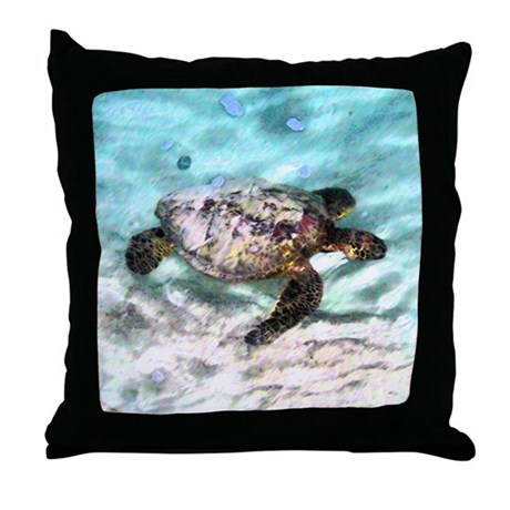 Swimming Sea Turtle Throw Pillow