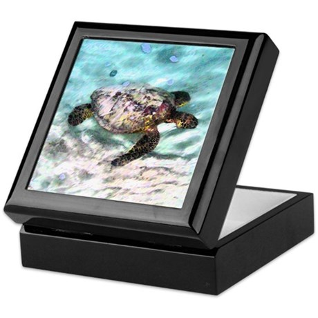 Swimming Sea Turtle Keepsake Box