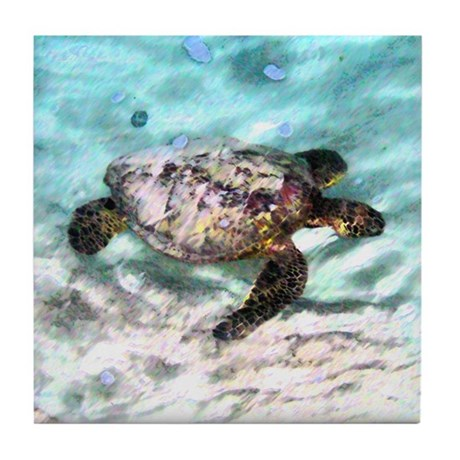 Swimming Sea Turtle Tile Coaster