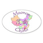 Maonan China Map Oval Sticker (10 pk)