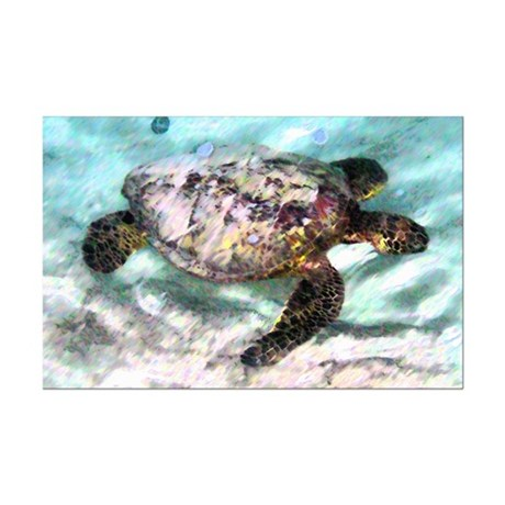 Swimming Sea Turtle Mini Poster Print