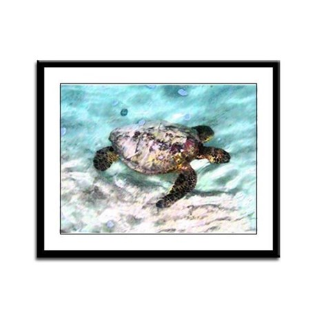 Swimming Sea Turtle Framed Panel Print