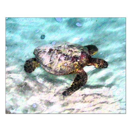 Swimming Sea Turtle Small Poster