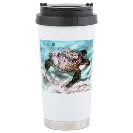 Swimming Sea Turtle Ceramic Travel Mug