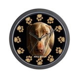 """Risks""  Weimaraner Wall Clock"