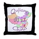 Qujiang China Map Throw Pillow