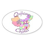 Qujiang China Map Oval Sticker (10 pk)