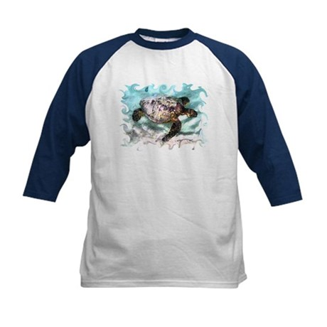 Swimming Sea Turtle Kids Baseball Jersey