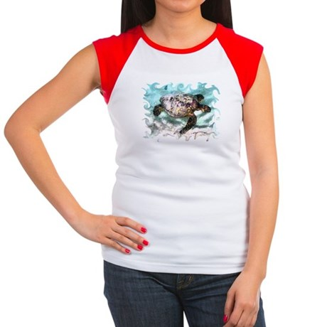 Swimming Sea Turtle Women's Cap Sleeve T-Shirt