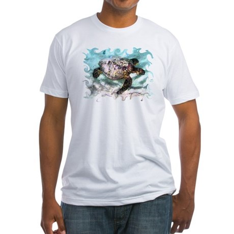 Swimming Sea Turtle Fitted T-Shirt