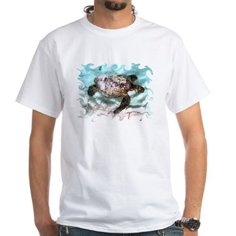 Swimming Sea Turtle White T-Shirt