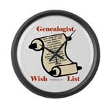 Genealogy Wish List Large Wall Clock