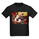 Santa's Bi Black Sheltie Kids Dark T-Shirt
