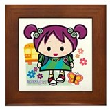 School Girl Framed Tile