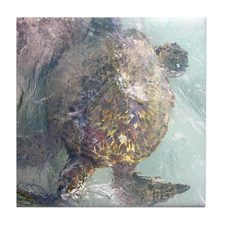 Watercolor Turtle Tile Coaster