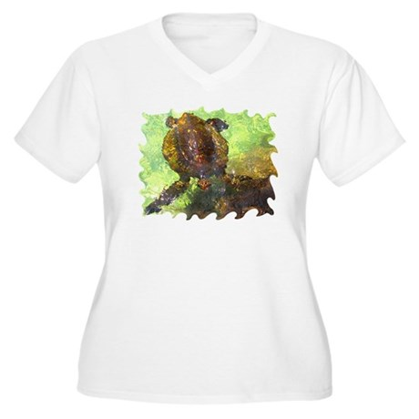 Turtle, Surfacing Women's Plus Size V-Neck T-Shirt