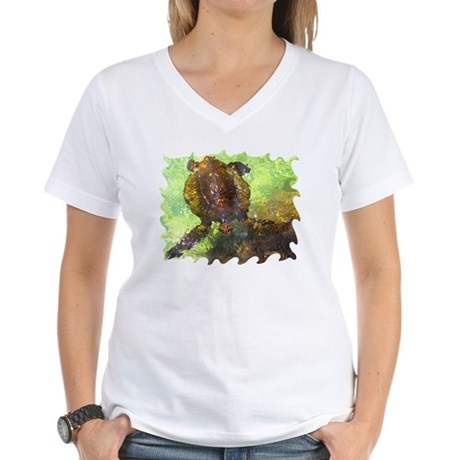 Turtle, Surfacing Women's V-Neck T-Shirt