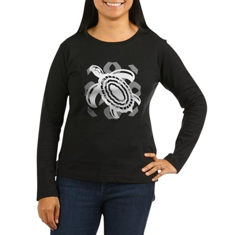 Cut Out Turtle Women's Long Sleeve Dark T-Shirt