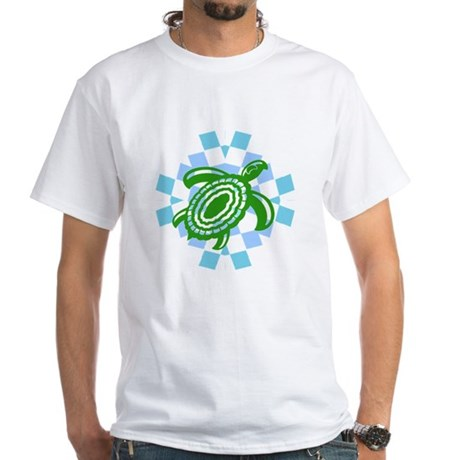 Green Cutout Turtle White T-Shirt