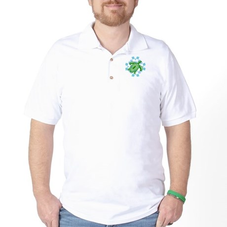 Green Cutout Turtle Golf Shirt