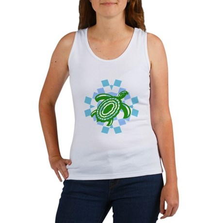 Green Cutout Turtle Women's Tank Top