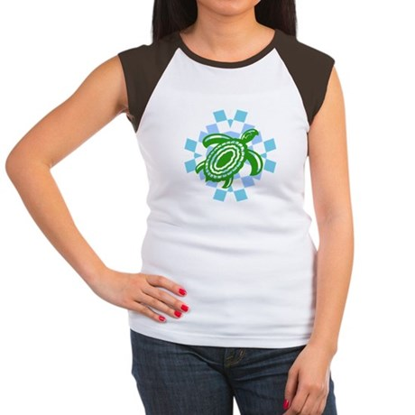 Green Cutout Turtle Women's Cap Sleeve T-Shirt