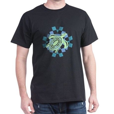 Green Cutout Turtle Dark T-Shirt