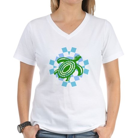 Green Cutout Turtle Women's V-Neck T-Shirt