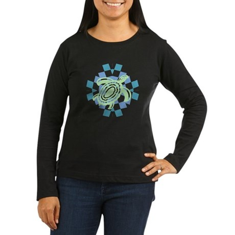 Green Cutout Turtle Women's Long Sleeve Dark T-Shi