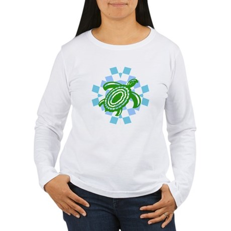 Green Cutout Turtle Women's Long Sleeve T-Shirt