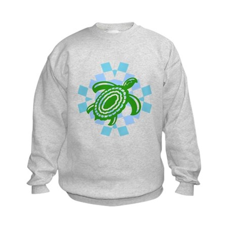 Green Cutout Turtle Kids Sweatshirt