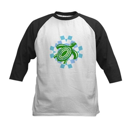 Green Cutout Turtle Kids Baseball Jersey