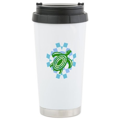 Green Cutout Turtle Ceramic Travel Mug