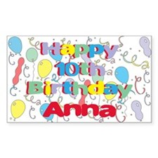 Anna's 10th Birthday Rectangle Decal