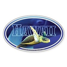 Hawaii Sea Turtle & Whale sticker decal (oval)