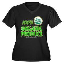 Organic Produce Women's Plus Size V-Neck Dark T-Sh