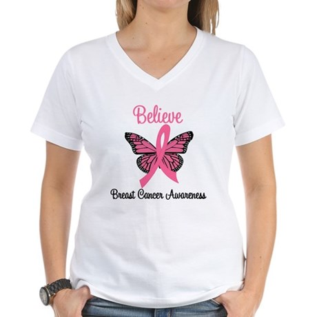 Believe Breast Cancer Women's V-Neck T-Shirt