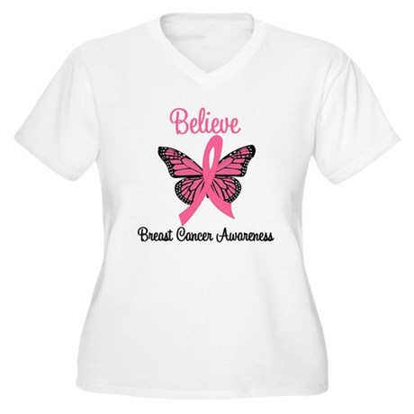 Believe Breast Cancer Women's Plus Size V-Neck T-S