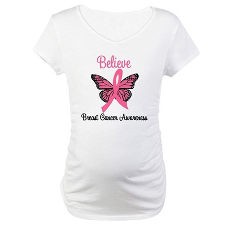 Believe Breast Cancer Maternity T-Shirt