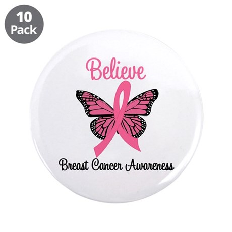 "Believe Breast Cancer 3.5"" Button (10 pack)"