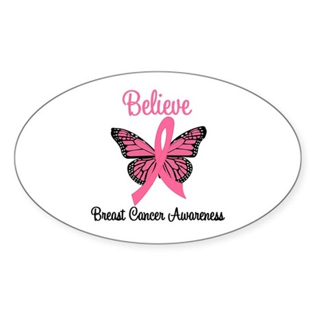 Believe Breast Cancer Oval Sticker (10 pk)