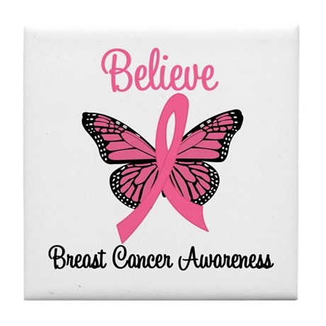 Believe Breast Cancer Tile Coaster