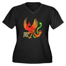 Chinese Phoenix Women's Plus Size V-Neck Dark T-Sh