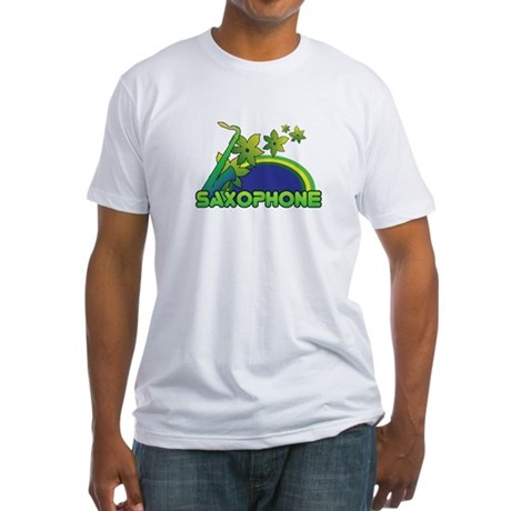 Retro Saxophone Fitted T-Shirt