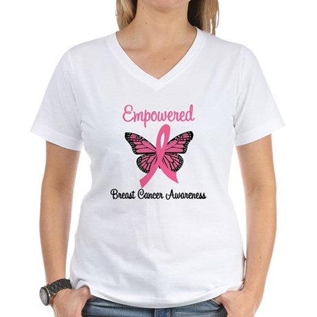 Empowered (Breast Cancer) Women's V-Neck T-Shirt